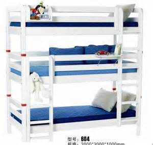 Three Person Bunk Bed Bunk Bed Wooden Bunk Bed For Three In Wood Beds From Furniture On Aliexpress