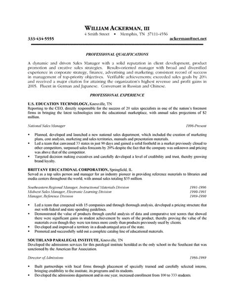 sle of a resume letter for sales resume exle sle