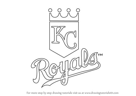 coloring pages kansas city royals learn how to draw kansas city royals logo mlb step by