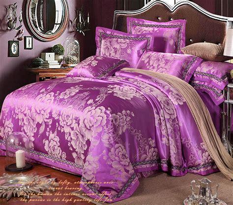 Sprei Tencel Jacquard 160x200x30 1 purple flowers 4pcs tencel silk bedding set jacquard