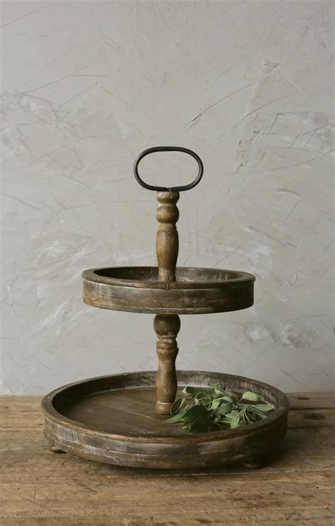 two tiered rustic wood tray