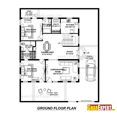 48 square feet house plan for 48 feet by 57 feet plot plot size 304