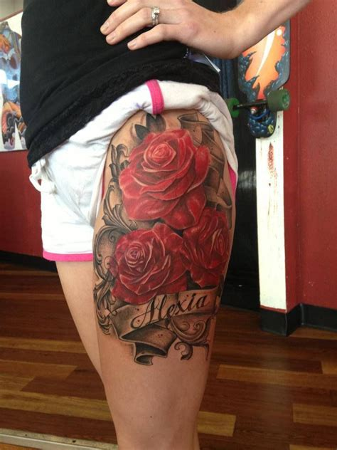 rose tattoo with writing this without the writing ideas roses