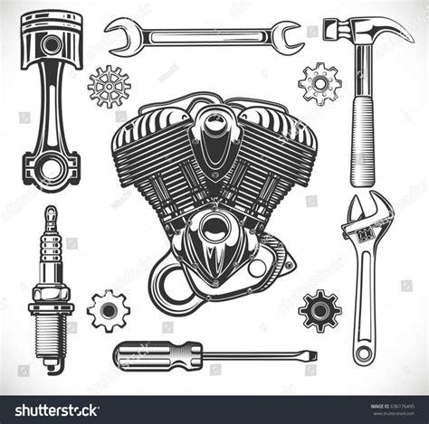 auto forwarding tool set of auto and moto logos garage service repair tools