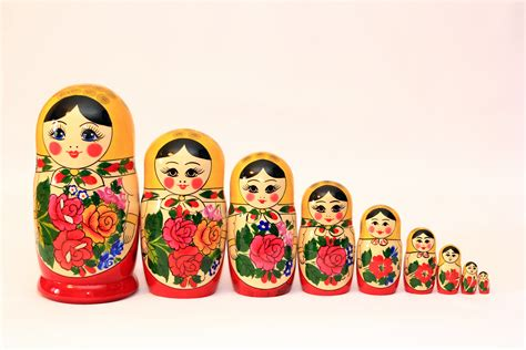 set of 9 matryoshka doll russian nesting doll handmade in