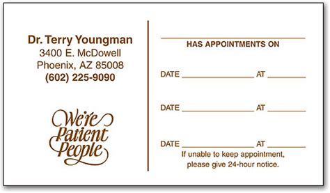 dental appointment card business card template economy one color appointment business card