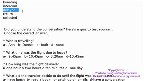 Dealy Comversationword conversation with key words and quiz at the airport