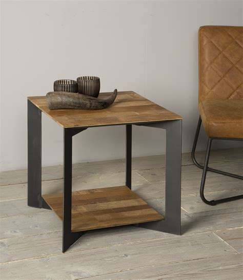 end tables 50 aberdeen end table staal teakhout 50x50 cm markus