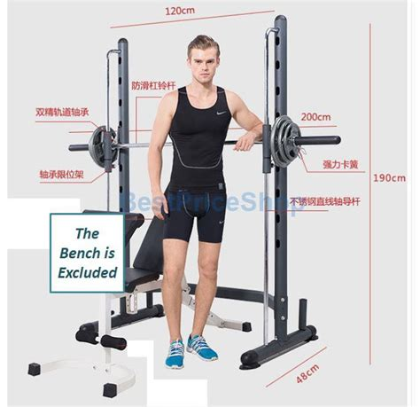 bench press safety catch smith machine with olympic barbell squat rack workbench