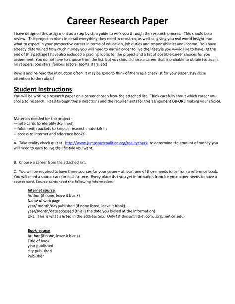 Career Research Essay by Search Results For Research Paper Outline Template Mla Format Calendar 2015