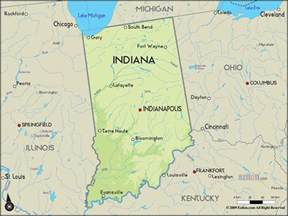 geographical map of indiana and indiana geographical maps