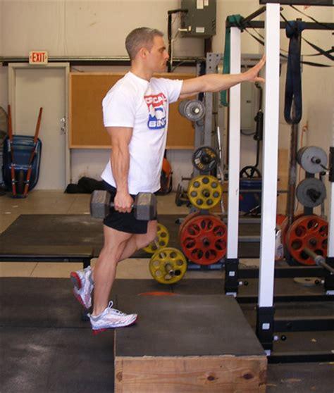 critical bench exercises one legged dumbbell calf raises exercise demonstration