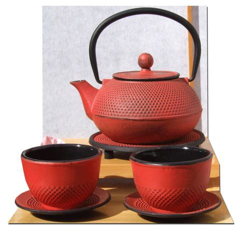 Cups Trivet & Tetsubin Japanese style Cast Iron Sunset Red