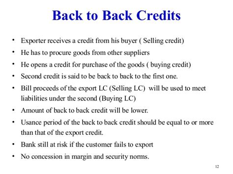 Letter Of Credit Back To Back Letter Of Credit