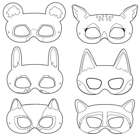 printable animal eye mask template woodland forest animals coloring masks woodland animal