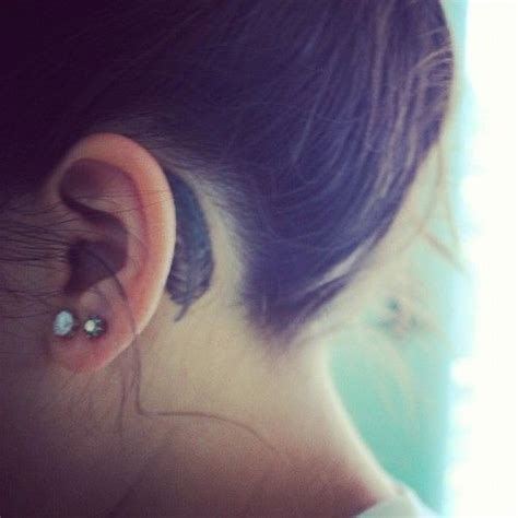 small tattoos behind ear designs feather ear small ideas