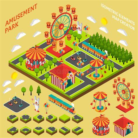theme park maker download amusement park isometric map creator composition stock