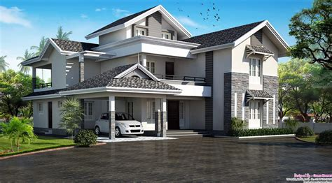 1900 sq feet kerala model sloping roof house house kerala villas keralahouseplanner