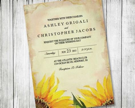 Printable Sunflower Wedding Invitation ~ Vintage, Rustic