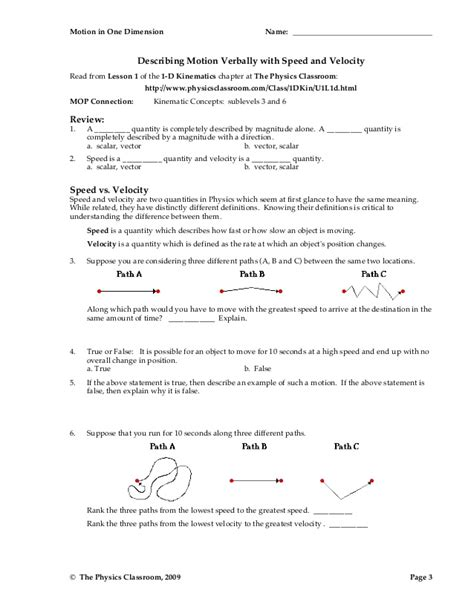 Speed Worksheet Answers by Speed Velocity And Acceleration Problems Worksheet Answers