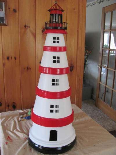 lighthouse craft project diy clay pot lighthouses garden decor 1001 gardens