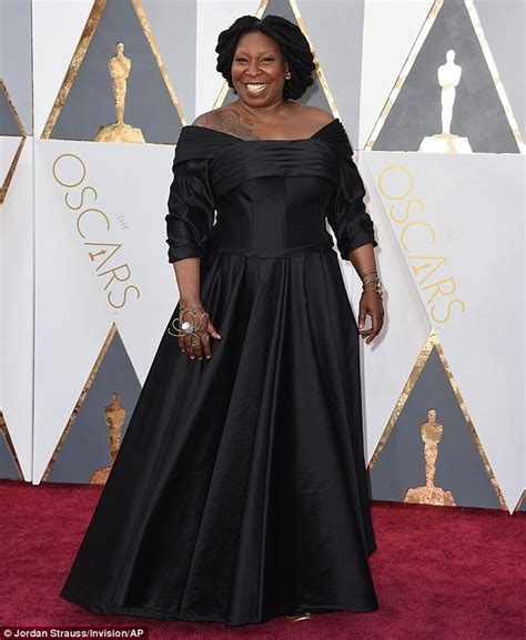 whoopi goldberg tattoo whoopi goldberg reveals shoulder in black frock