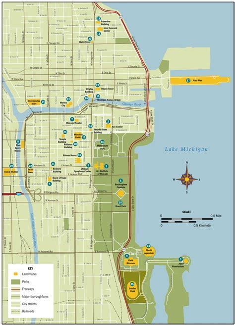 map of landmarks keyed landmark map of chicago