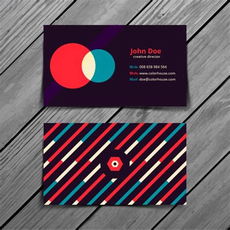 Colorful Business Card Template by Retro Colorful Business Card Template Vector Free