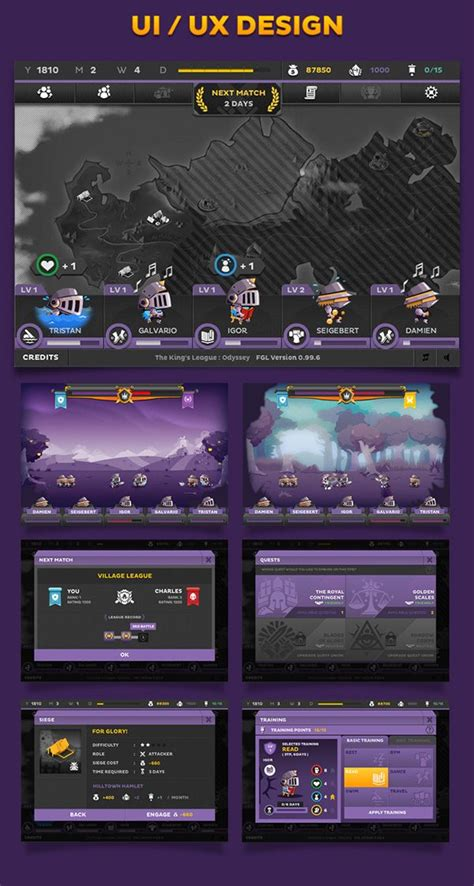 design game using c game art of the king s league odyssey on behance gui