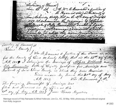 Kansas Birth Records Genealogy Rainwater Marriage Records