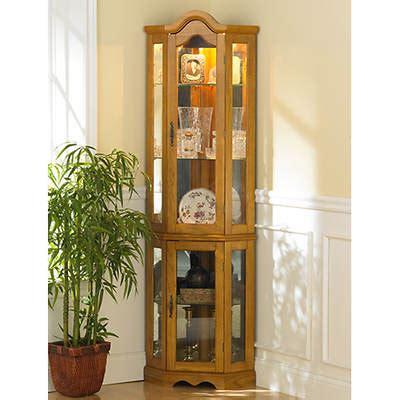 oak corner curio cabinet lighted corner curio cabinet golden oak bj s