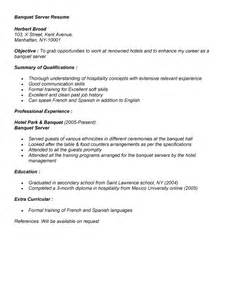 Banquet Server Description by Banquet Server Resume Exle For Application Banquet
