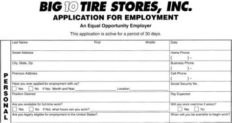 printable job applications for retail stores big 10 tires job application printable job employment forms
