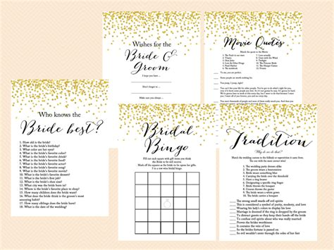 gold confetti bridal shower game mega pack magical printable