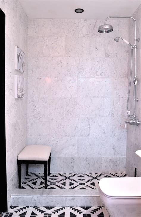 cement tile bathroom black and white mosaic tiles eclectic bathroom elle