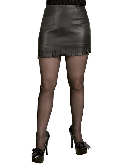 Black Mini Skirt By Tout Coup soft leather mini skirt with fringed slant hem tout ensemble