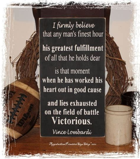 football home decor vince lombardi victorious quote wood sign home office