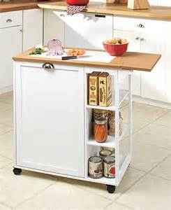 drop leaf kitchen cart with garbage bin the lakeside