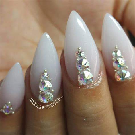 nail r blue stiletto nails with rhinestones www imgkid