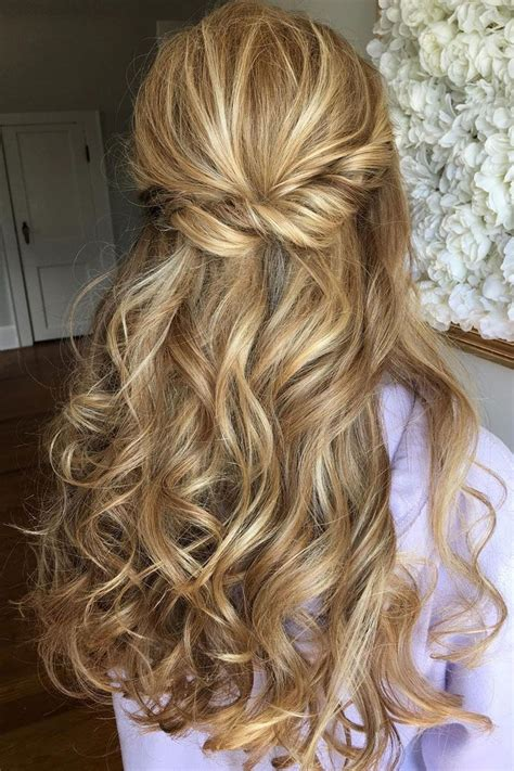 wedding hair and curled half up half bridal hairstyles partial updo wedding