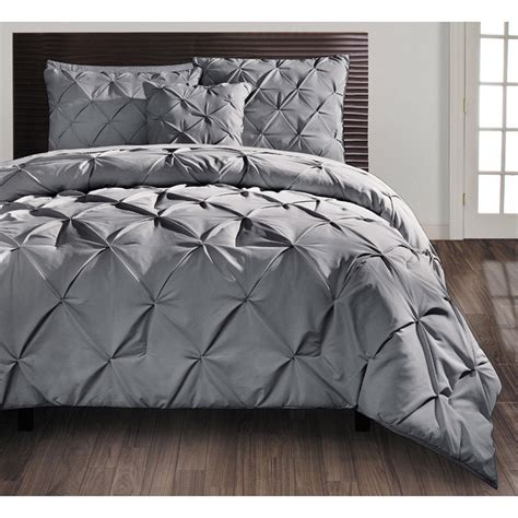 beautiful modern ruffled texture grey pintuck comforter