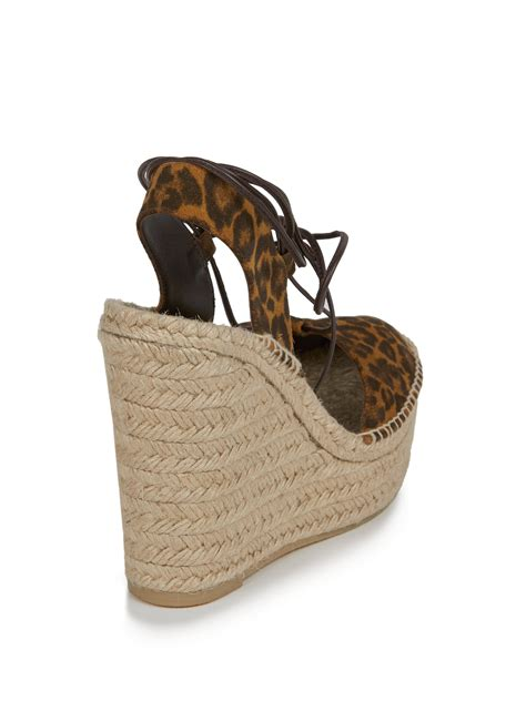 leopard print wedge sandals lyst laurent leopard print suede espadrille wedge