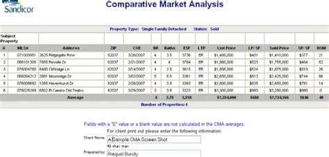 Comparative Market Analysis Cma Report Sle Screen Shot San Diego Ca Homes A Blog About Free Real Estate Cma Template