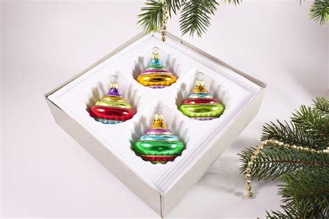 Bunte Lenschirme Aus Glas by 4 Bunte Kreisel Christbaumkugeln Aus Glas