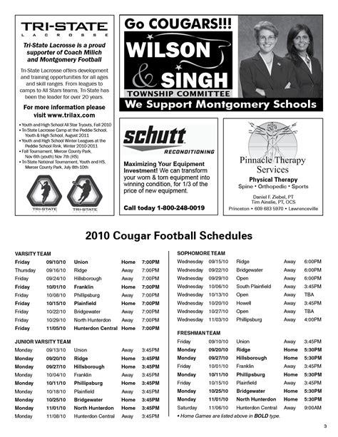 high school football program template free program football programs ads sle