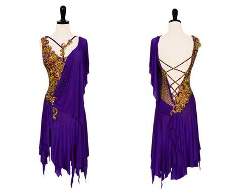 pattern latin dress purple and gold latin dress with elaborate stoning