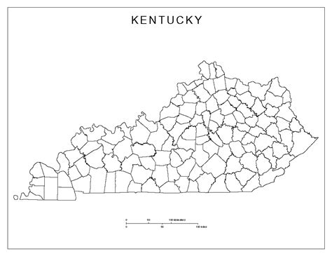 map of kentucky counties kentucky blank map