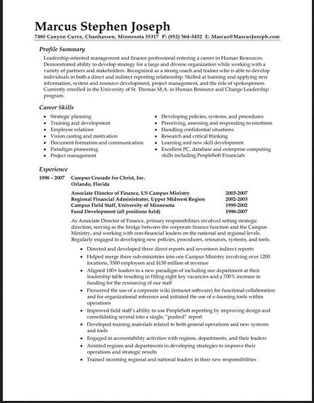 Resume Summary Statements by Sle Resume Format