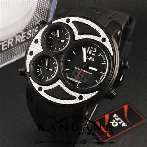 Jam Tangan Pria Seven Friday Silver And Black jual alfa four time 047 black silver jamtangansby