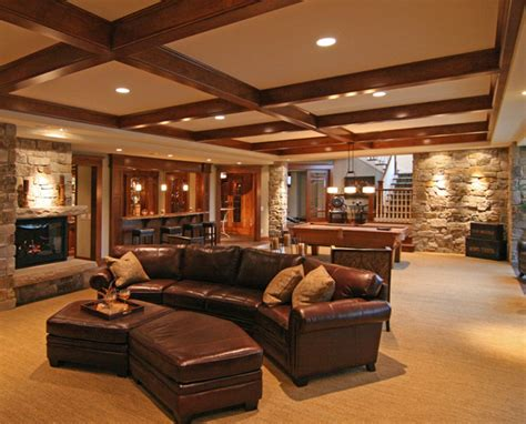 interior photos of brilliant furnished basements